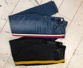 DIY racing stripe jeans